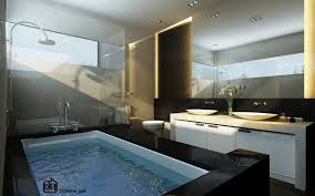 bathroom idea bathroom idea with large black bathtub and white vanity and oval