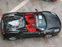 ferrari black black convertible 430 spider red leather interior top view