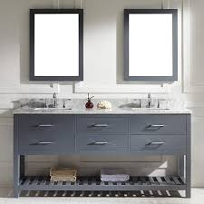 72 inch grey square double sink italian white carrara marble
