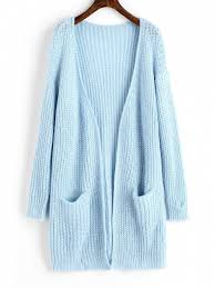 light blue cardigan sweater chunky open front cardigan with pockets light blue sweaters one