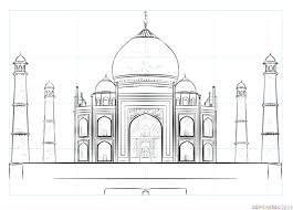 how to draw the taj mahal step by step drawing tutorials