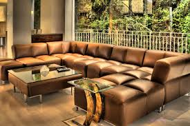 Large Living Room Furniture Decor Mesmerizing Brown Leather Sectional Sofa For Living Room