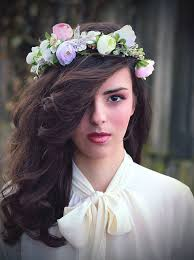 hair flower flower hair wreath purple light pink green wedding bridal hair