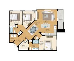 3 floor plan 1 2 and 3 bedroom floor plans aqua on the levee