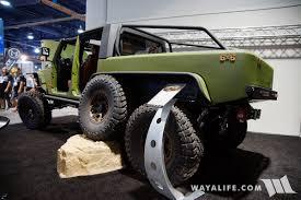 jku jeep truck 2017 sema fox bds jks bruiser 6x6 jeep pickup truck