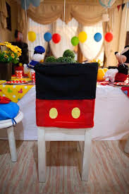 chair cover at a mickey mouse clubhouse themed birthday party via