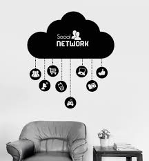 vinyl wall decal cloud social network computer technology it vinyl wall decal cloud social network computer technology it stickers ig4073