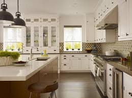 White Kitchen Cabinets With Glass Doors Great Kitchen Ideas White Country L Shape Kitchen Cabinet Glass