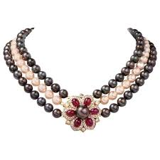 pearl ruby necklace images Multi strand pearl ruby diamond necklace clasp pin brooch at 1stdibs jpg