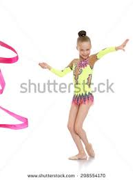 ribbon for hair that says gymnastics beautiful blond girl gymnast braided hair stock photo 298554170