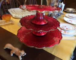 Red Cake Plate Pedestal Le Smith Cake Stand Etsy