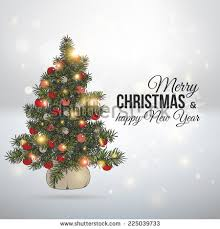vector vintage festive invitation christmas tree stock vector