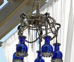 Blue Bottle Chandelier by Diy Chandelier