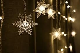 Curtain Christmas Lights Indoors Amazon Com Coobl 16 Snowflake 104 Leds Curtain String Lights