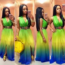 colorful dress colorful gradient slit design v neck high waisted fashion maxi