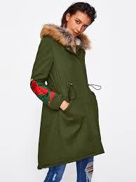 faux fur hoo fleece lined embroidered parka coat shein sheinside