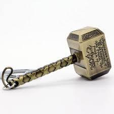 mk thor hammer marvel avengers superhero gold metal ring key chain