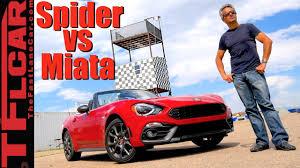 fiat spider vs miata what u0027s faster fiat 124 spider abarth or mazda miata mx 5 youtube