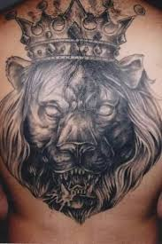 crown king latino lion face tattoo on back golfian com