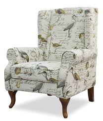 Wing Back Armchairs Bird Fabric Chair Wingback Chair Birds Fabric House Remodel