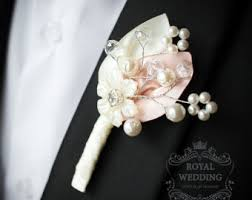 Groom S Boutonniere Fabric Boutonniere Etsy