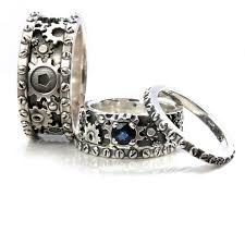 gear wedding ring his and hers gears and rivets wedding ring set sterling