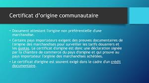 chambre de commerce certificat d origine documents douaniers ppt télécharger