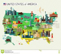 Chicago United States Map by Map Of The United States Of America And Skyline Travel Icons Stock