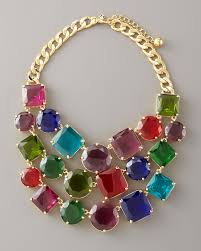 multi color necklace images Kate spade new york multicolor crystal bib necklace lyst jpeg
