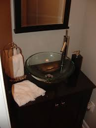 Bathroom Vanities And Tops Combo by Glass Vessel Sink Bathroom Vanity Combo With Wood Stand And Glass