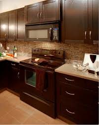 brown kitchen cabinets with dark countertop and lighter colored