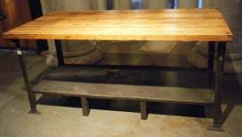 cost to ship vintage industrial workbench w wood top metal base