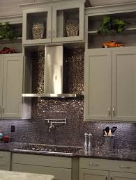 gray kitchen backsplash kitchen design awesome metallic penny tile backsplash along with