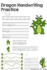 dragon handwriting practice printable simple fun for kids