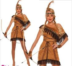 free pp pocahontas indian squaw cowgirl princess fancy dress