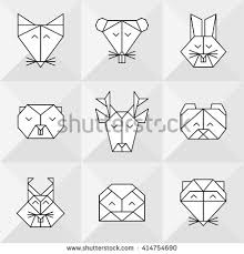 front view animal heads animal origami stock vector 414078817