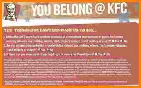 6 kfc employment application form ledger paper