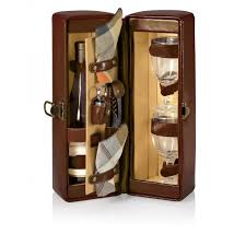 Wine Picnic Baskets Time Harmony 1 Bottle Deluxe Wine Case W Wine Service For 2 Mahogany