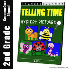 2nd grade telling time mystery pictures coloring worksheets