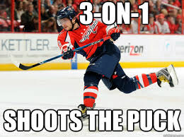 Ovechkin Meme - 3 on 1 shoots the puck ovechkin quickmeme