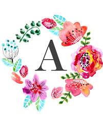 monogram letters home decor floral monogram free printable wall art printables pinterest