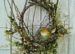 spring wreath twig wreath rustic bird nest wreath front door