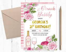 birthday brunch invitations bubbly and brunch etsy