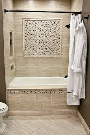 simple white small bathroom design with corner bath tub and white ceramic wall tile mixed with a stone and glass mosaic bath tub bathroom remodel ideas