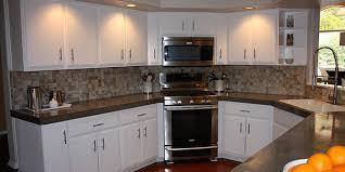 backsplash with white kitchen cabinets remodelaholic install of concrete countertops kitchen