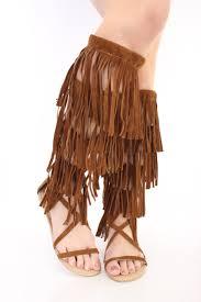 tan side buckle fringe gladiator sandals faux suede
