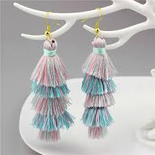 ch earrings ch lse0163 handmade earrings jewellery thread silk ombre tassel