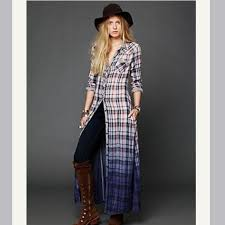 Free People Sold Free People Plaid Dip Dye Maxi Dress Xs