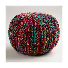 cost plus world market multicolored knitted sari pouf 90 for