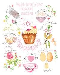 illustration cuisine recette des cupcakes de la valentin aquarelle